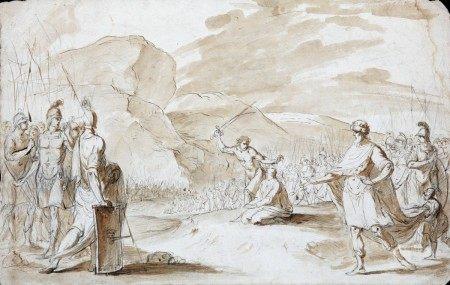 ECOLE ITALIENNE du XVIIIème Siècle  - Le sacrifice avant la bataille PIERRE NOIRE, [...]