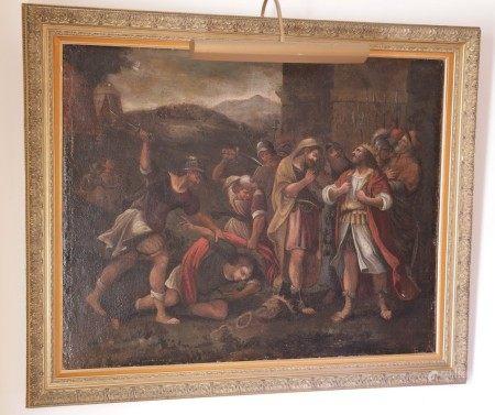ECOLE du XVIIème Siècle  - Scène de massacre HUILE SUR TOILE Dim. à vue : 99 x [...]