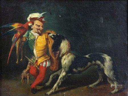 ECOLE DU XIXème Siècle  - Le Nain du Roi Philippe IV d'Espagne avec un perroquet et [...]