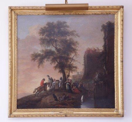 Charles VAN FALENS (1684-1733) (D'après)  - Scène galante devant une fontaine de [...]