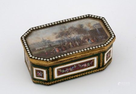 BOITE TABATIERE Style Louis XVI - XIXème Siècle  - Laiton doré, émail polychrome [...]