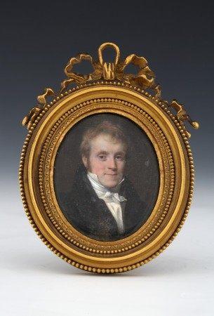 Frédéric MILLET (1786-1859)  - MINIATURE OVALE SUR IVOIRE Portrait d'homme en [...]
