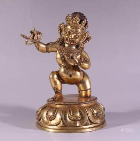 CHINESE BRONZE ACALANTHA BUDDHIST SCULPTURE
