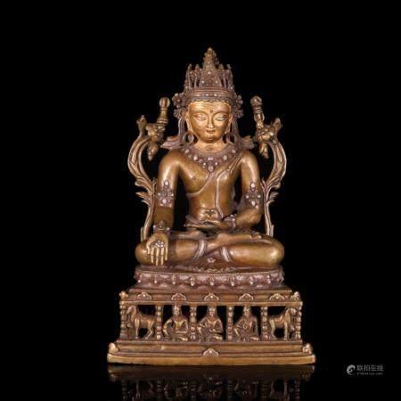 CHINESE GILT BRONZE VAJRASATTVA BUDDHIST SCULPTURE