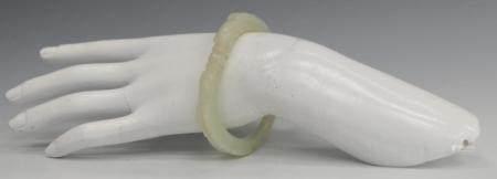 CHINESE WHITE JADE RETICULATED DRAGONS BANGLE
