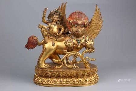 CHINESE GILT BRONZE GARUDA BUDDHIST DEITY SCULPTUR