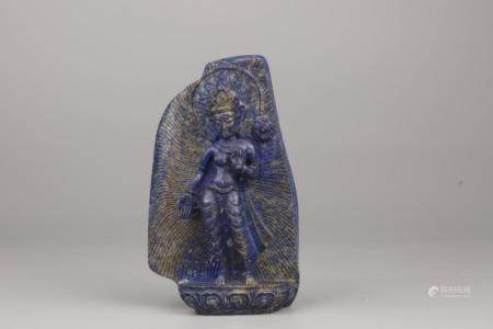 CHINESE LAPIS LAZULI HIGH RELIEF CARVED GUAN YIN