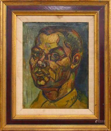 DOX THRASH (USA 1893-1965) FACE OIL ON CANVAS