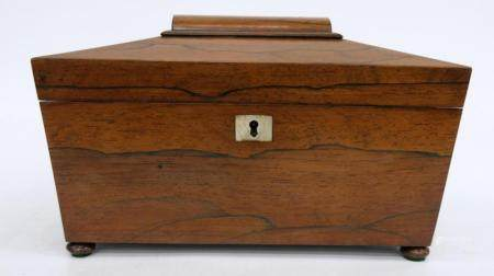ANTIQUE CARVED ENGLISH TEA CADDY