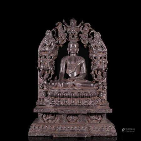 CHINESE CARVED BLACK HARDSTONE SAKYAMUNI BUDDHA