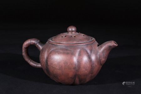 紫砂荷蓮結子茶壼