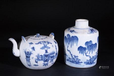 青花清供紋茶壼及青花山水紋茶葉罐共二件