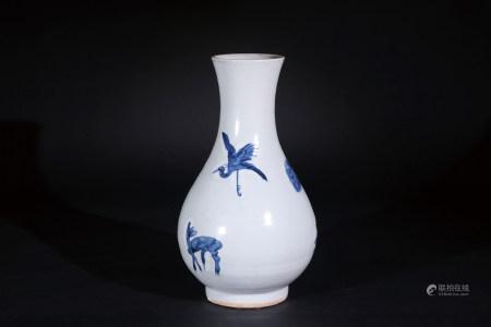 青花鹿鶴松齡紋瓶