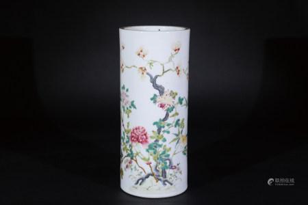 青花花卉紋筒瓶 (有冲)