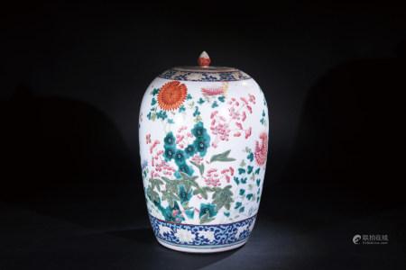 粉彩花碟紋冬瓜瓶
