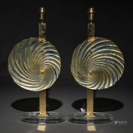 Pareja de lámparas de sobremesa en cristal de murano y metal dorado de los años 70.