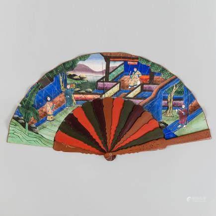 Abanico Chino denominado de las mil caras.  Trabajo Chino, Siglo XIX.