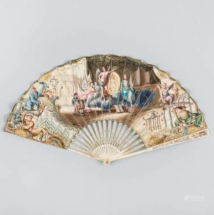 Abanico con varillaje en marfil calado. Siglo XIX