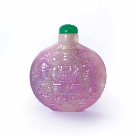 清乾隆宫廷天然冰种紫罗兰翡翠饕餮纹鼻烟壶原配翡翠冰种满绿盖