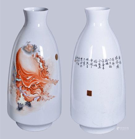 粉彩 鐘馗神威圖瓶