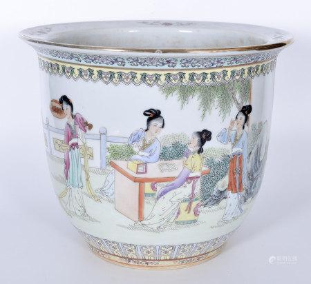 70年代 粉彩仕女花盆