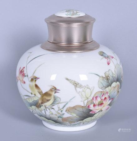 徐國明(省高工) 粉彩花鳥茶葉罐