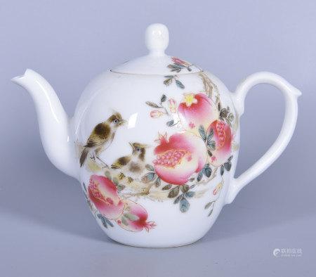 徐國明(省高工) 粉彩石榴花鳥茶壺