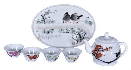 傅國勝(省大師) 釉上彩喜上眉梢茶具一套六件