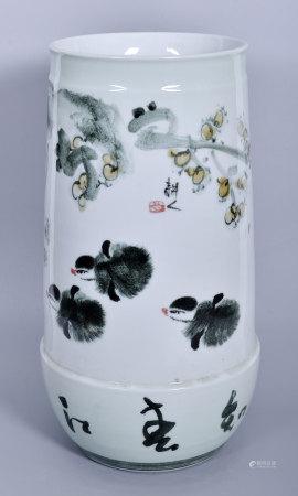 馮通亮(耕人、省高工)高溫釉春江水暖瓶(有證書)