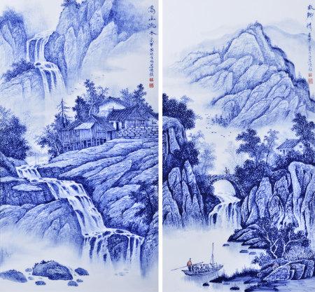 吳國明(省高工) 青花山水瓷板兩件(帶框)