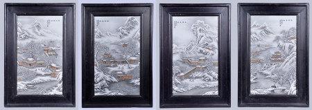 余文驤 粉彩雪景瓷板一套四件(帶框)