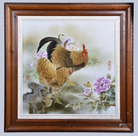 陳洪君(省高工) 粉彩大吉圖瓷板(帶框)