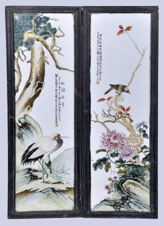 程意亭(款) 粉彩花鳥對屏