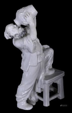白釉李逵瓷塑