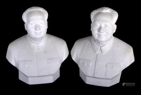 素胎毛主席瓷塑像兩件