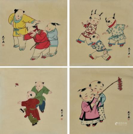 吴光宇款  婴戏图  一组4幅  画心