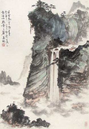 杨夏林(1919-2004)高山飞瀑1973年作