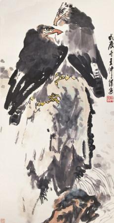王仲谋(1920-1990)双鹰图1988年作