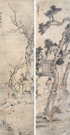 林嘉(1874-1939)古典人物对屏
