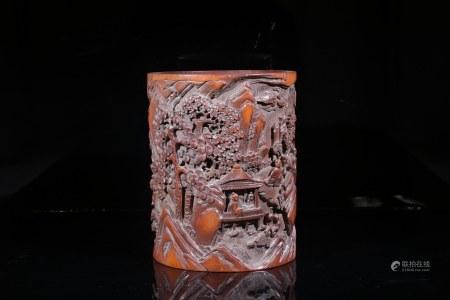 竹雕人物筆筒