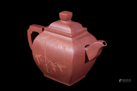 宜興雕竹書法茶壼