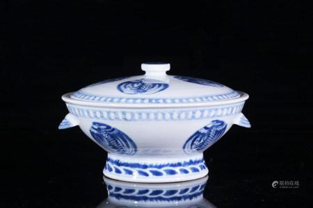 舊青花團鶴紋蓋碗
