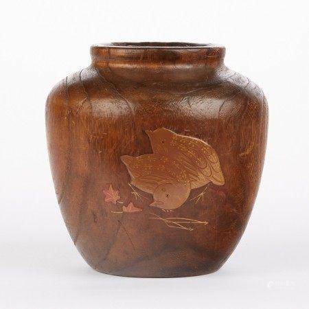 Japanese Cedar Mini Lacquered Hibachi Ikebana Vase