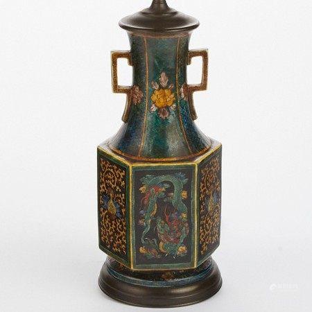 Japanese Kutani Porcelain Dragon Vase - Lamped
