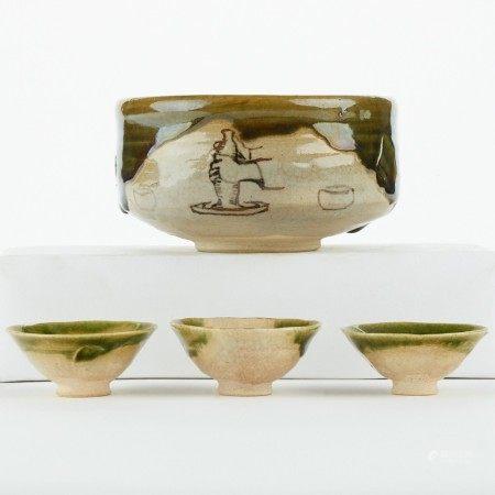 Set 4 Japanese Oribe Ceramics