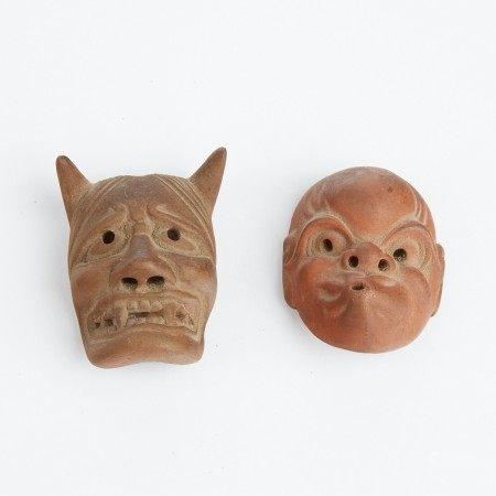 Grp: 2 Japanese Ceramic Netsuke as Noh Masks