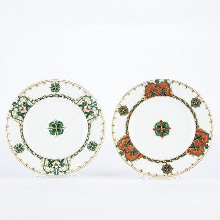 Pair of Kornilov Bros. Russian Porcelain Plates