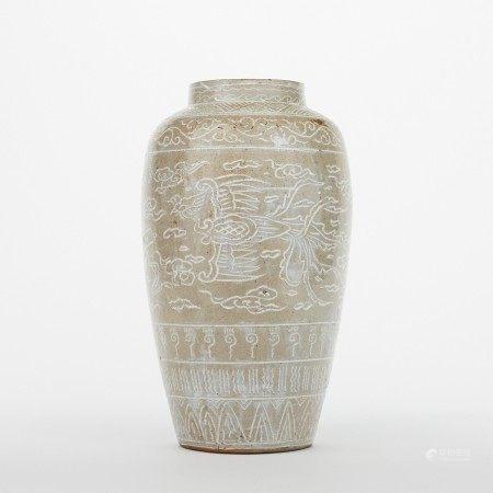 Antique Korean Inlaid Ceramic Vase