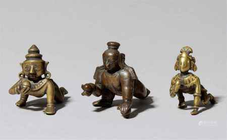 Three copper alloy figures of Bala Krishna. Central and Southern India