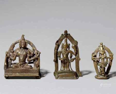 Three Central Indian folk bronze shrines. 17th/19th century
